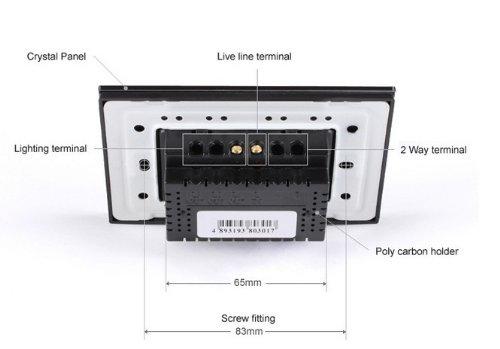 US/AU Standard, Remote Switch, Black Crystal Glass Panel, Wall Light Remote Dimmer Switch, VL-C301DR-82 by NIMTEK (Image #3)