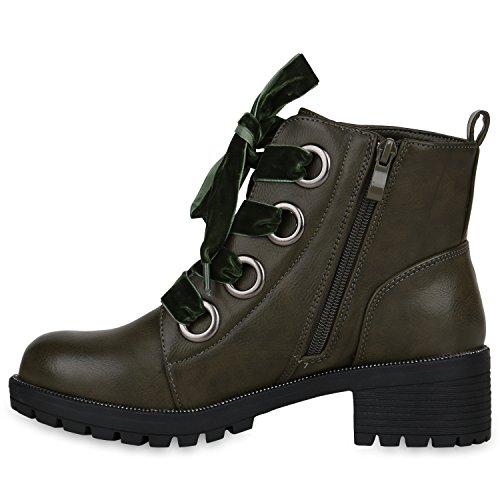 Stiefelparadies Damen Stiefeletten Leicht Gefütterte Outdoor Worker Boots Flandell Dunkelgrün Samtoptik