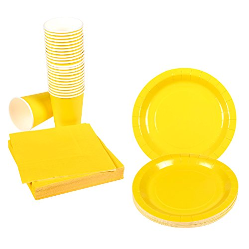 Yellow Party Supplies - 24-Set Paper Tableware -