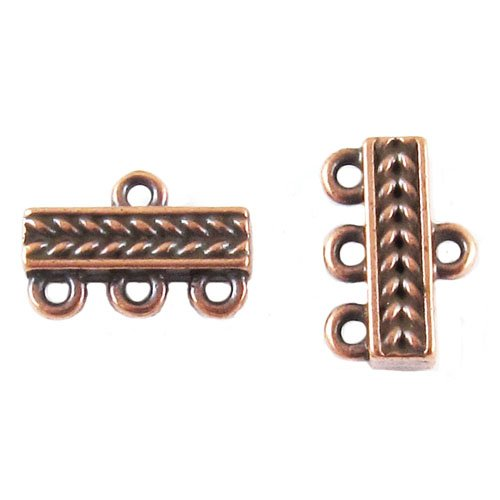 TierraCast Pewter Connectors-COPPER 3 to 1 BRAIDED LINKS (Pewter Findings Antique Copper Plate)