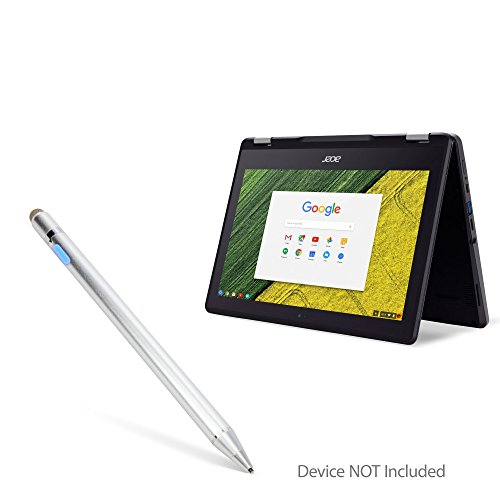 BoxWave Acer Chromebook Spin 11 (R751T) Stylus Pen, [AccuPoint Active Stylus] Electronic Stylus Ultra Fine Tip Acer Chromebook Spin 11 (R751T) - Metallic Silver
