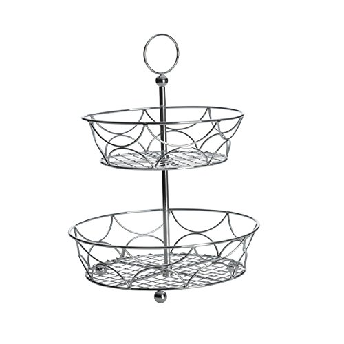Towle 2-Tiered Chrome Plated Round Countertop Basket, 15.5-Inch