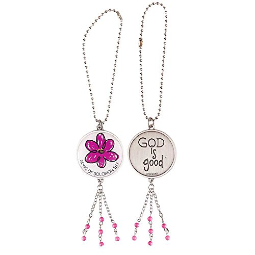 God is Good Pink Flower Antique Silver Metal Auto Mirror Dangle Car Charm