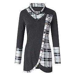 Blouses For Womens Foruu Clover Ladies Sales 2019 Under 10 Best Gift For Girlfriend Long Sleeve Plaid Turtleneck Tartan Tunic Sweatshirt Pullover Tops
