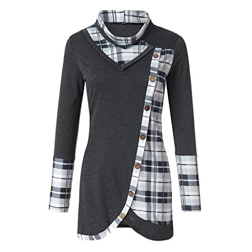 TWGONE Plaid Tunic Tops For Leggings For Women Blouse Long Sleeve Turtleneck Tartan Sweatshirt Pullover(Small,Dark Gray) -