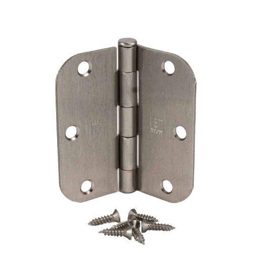 """(Pack of 50) Hager 3 1/2 Inch Satin Nickel Door Hinges with 5/8"""" Radius Corners"""