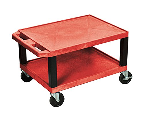 Offex Red Tuffy Multi-Purpose Utility Cart Black Legs, 16