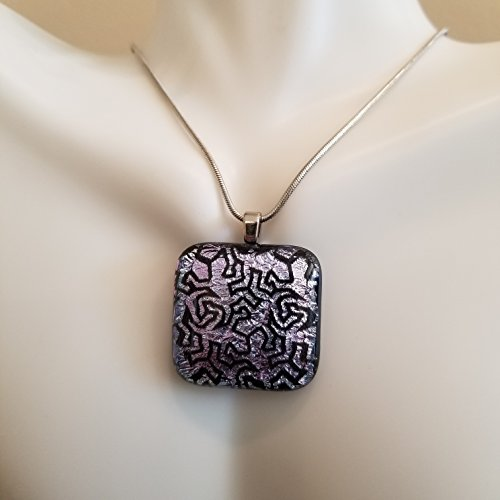 Fused Glass Jewelry, Purple Lizard Square Pendant, Chain Included Necklace, Classy Dichroic Glass Sparkling Lizard Design Necklace Pendant, Beautiful and Unique One Of A Kind Handmade Art Jewelry Square Fused Glass Pendant