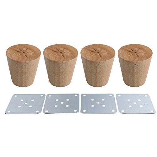 RDEXP Oak Wood Reliable 58x60x38mm Wood Furniture Leg Cone Shaped Wooden Feets for Cabinets Soft Table Set of (4 Wooden Feet)