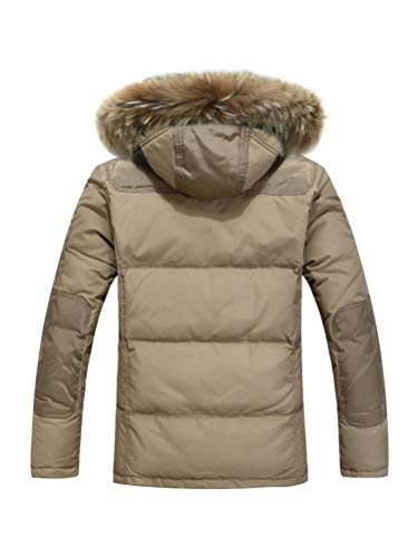 Manica Outwear Parka Uomo Cappotto Pelliccia Caldo Piumino Invernale Giacca Orandesigne Lunga Jacket Cachi Cappuccio Inverno Con Antivento Casual Fodera qRwaaf
