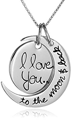 "Sterling Silver ""I Love You To The Moon and Back"" Heart Locket"