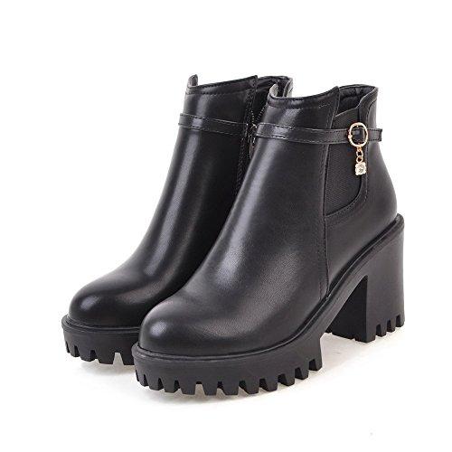 AgooLar Damen Reißverschluss Quadratisch Zehe Hoher Absatz Blend-Materialien Rein Stiefel, Schwarz, 36