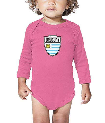 Ls Retro Home Shirt - Uruguay - Country Soccer Crest Long Sleeve Bodysuit (Pink, 6 Months)