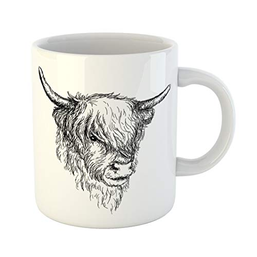 - Emvency Coffee Tea Mug Gift 11 Ounces Funny Ceramic Beautiful Scottish Rural Animal Hairy Cow Coo From Highlands Gifts For Family Friends Coworkers Boss Mug