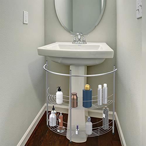Lavish Home 83-150 Pedestal Organizer - Compact Under The Sink Rack with 2 Storage Shelves and Towel Holder, Standard, Chrome