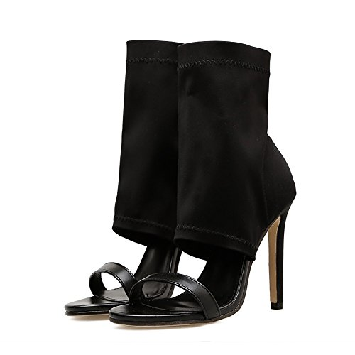 de Zapatos de Alto y UK4 Mujer Alto con Talón Women's Sandalias con 5 Color EU37 sandals Diseño de pez Boquilla Negro Elástica Stiletto Hueco Tacón 5 Mujer para zzHwUq