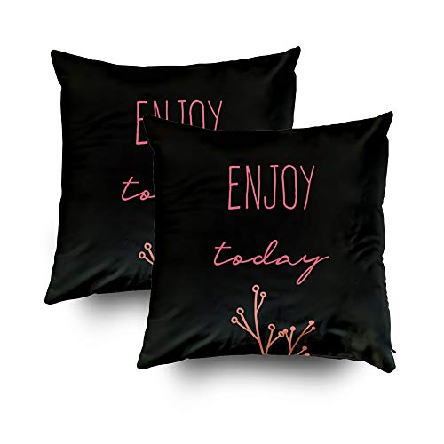 GROOTEY Decorative Cotton Square Set of 2 Pillow Case Covers with Zippered Closing for Home Sofa Decor Size 20X20Inch Costom Pillowcse Throw Cover Cushion,Halloween Modern Colorful Quotes Poster
