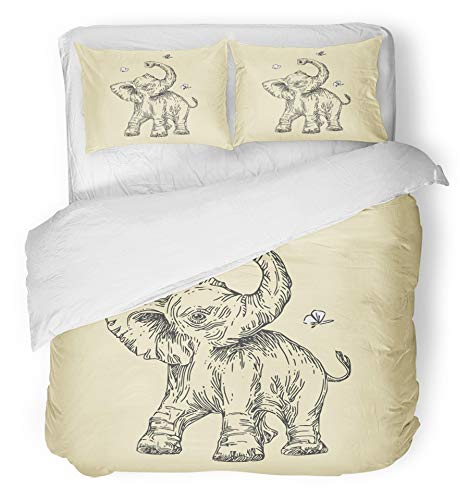 Emvency 3 Piece Duvet Cover Set Breathable Brushed Microfiber Fabric Tattoo Baby Animals Wild Elephant Vintage Style Engrave Sketch Africa African Asia Bedding Set with 2 Pillow Covers Twin Size