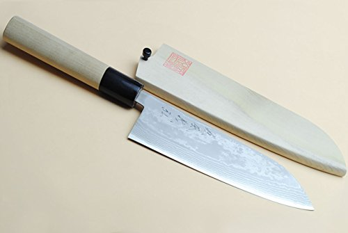 galleon yoshihiro vg10 stainless steel 16 layers damascus santoku chef 39 s knife 6 5 in. Black Bedroom Furniture Sets. Home Design Ideas