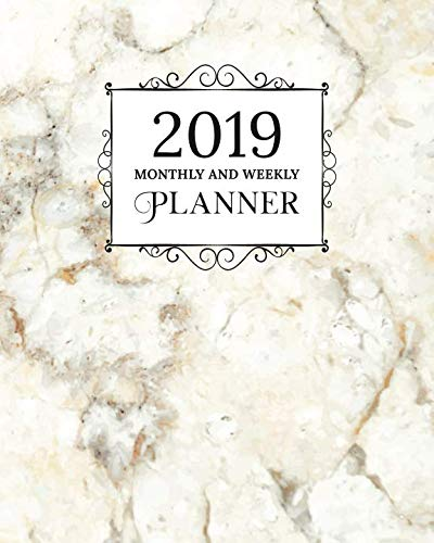 2019 Monthly And Weekly Planner: Calendar, Organizer, Goals and Wish List | Weekly Monday Start, January to December 2019 | White Yellow Marble Granite Print -