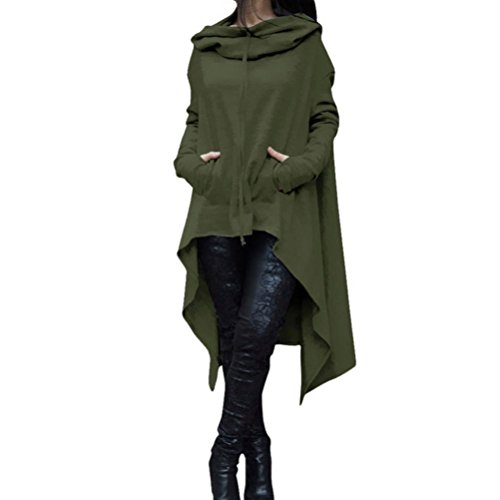 Women Irregular Hem Loose Hoodies Sweatshirts Long Sleeve Sweater Tunic Dress (S, Army Green) (Wear Jumper Dresses)