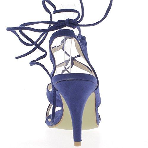 ChaussMoi Sandales Grande Taille Bleues à Lacets à Talon de 10cm Aspect Daim