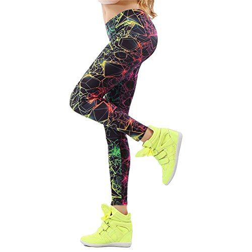80s Neon Clothing (Multi Color Fluorescent Gradient Geometrical Electric Print Leggings (M, Black))