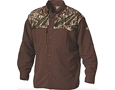 Drake Men's EST Two-Tone Vented Wingshooter's Shirt Long Sleeve Polyester