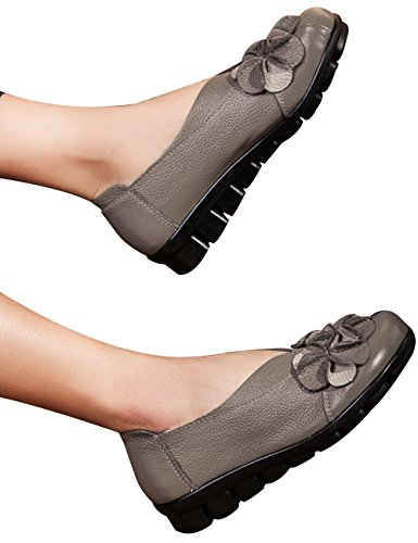 Zoulee Womens Bout Rond En Cuir Floral Appartements Chaussures Mère Chaussures Gris