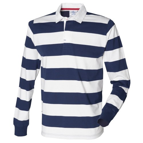 Front Row Mens Striped Sports Rugby Polo Shirt (XS) (Navy/White)