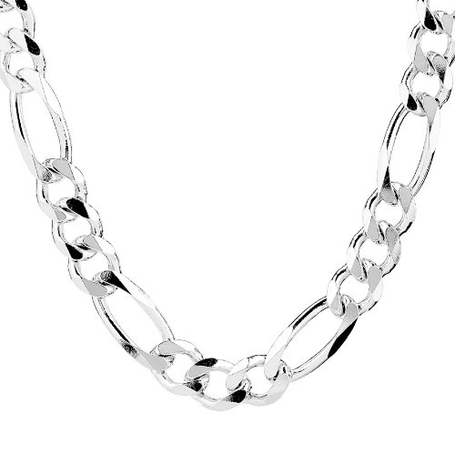 Solid Sterling Silver 5.5 mm Figaro Chain 24'' by Beauniq