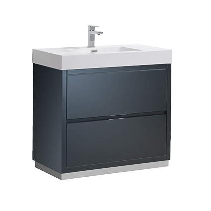 Fresca Valencia - Mueble para baño (pizarra oscuro, 91,4 cm ...