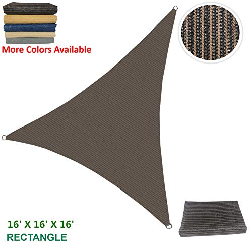Eden's Decor Sun Shade Sail Outdoor with Durable Thick Air-Permeable UV Block Fabric for Patio Outdoor Fence Deck Carport and Swimming Pool 16' X 16' X 16' Brown