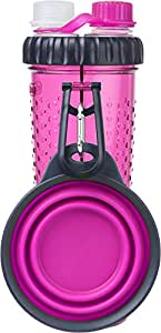Dexas Popware For Pets H-DuO Dual Chambered Hydration Bottle with Collapsible Pet Cup, Pink
