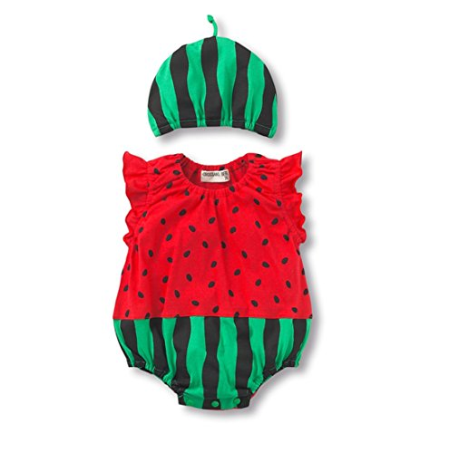 Fairy Baby Baby Unisex Cartoon Onesie Sleeveless Bodysuit and Hat Set,6-10M,Green Watermelon