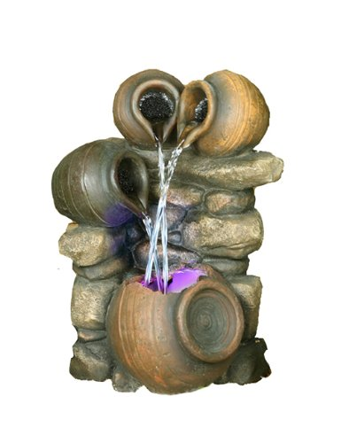 Hi-Line Gift Ltd. 3-Jug Pouring into One Fountain with Light