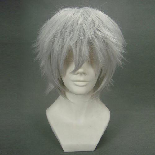 Anogol® Sexy Anime Silver Short Wig Kaneki Ken Cosplay Wig Layered Straight Party Wigs