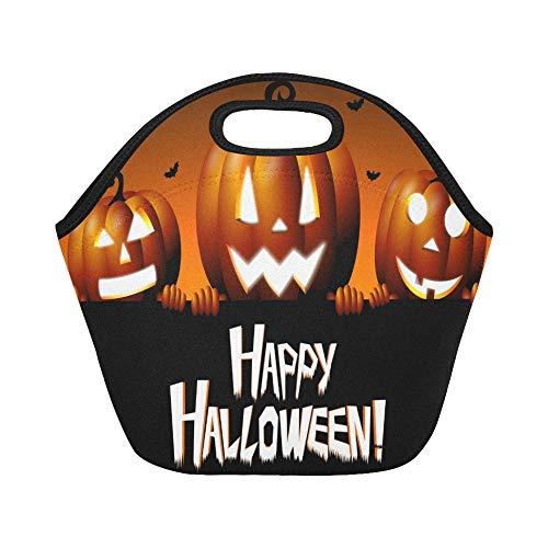 Insulated Neoprene Lunch Bag Halloween Happy Halloween Large