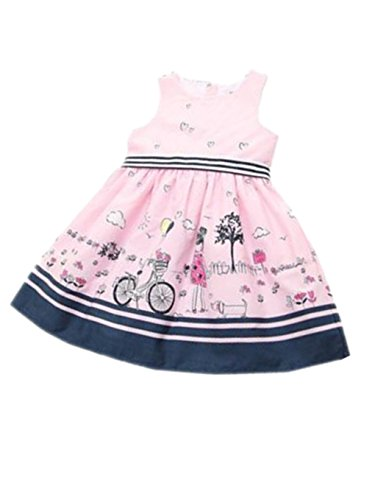 TIFENNY Clearance! Striped Belt Print Girls Dress Baby Girls Pink Sleeveless Party Princess Pageant Dresses
