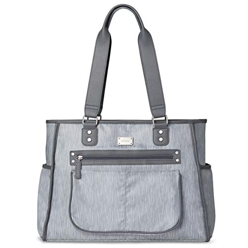 Carter's Essence Diaper Bag Tote with Changing Pad, Grey Rainfall
