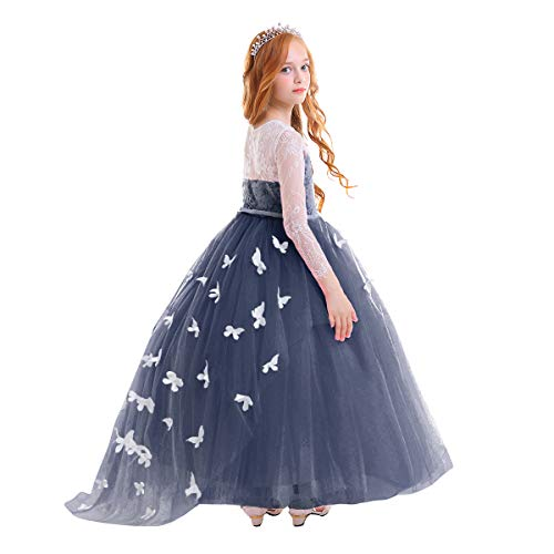 Flower Girl Tulle Long Junior Bridesmaid Dress Lace Beaded Pageant Kids First Communion Wedding Cocktail Formal Prom Dance Maxi Gown Navy Blue 12-13 Years