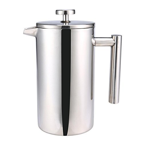 Large French Press Coffee Maker, Aolvo Double Walled Insulated 304 Stainless Steel French Press Filter, Most Use As Coffee and Tea Filter, 800 Ml (27 Oz)- Silver by Aolvo