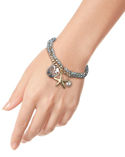 SPUNKYsoul Starfish Stretch Bracelets Silver, Gold Green Glass Faceted for Women Beach Collection (Grey Green Facteted) Crystal Blue Collection