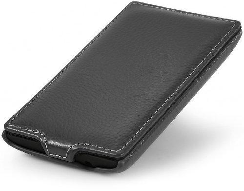 StilGut UltraSlim, funda exclusíva en piel auténtica para el Nokia Lumia 520, Cognac Negro
