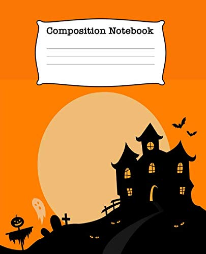 Composition Notebook: Scary Half Blank Half Wide Ruled