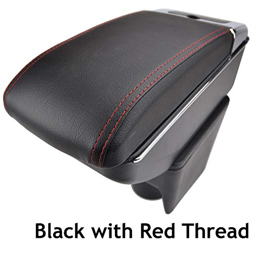 Dual-Layer Black Leather Arm Rest For 2010-2017 Polo Mk5 Vento Centre Console Storage Box Armrest XUKEY