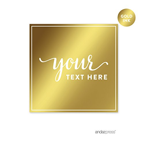 Andaz Press Fully Personalized Square Label Stickers, Metallic Gold Ink, Solid Gold, 40-Pack, Custom Made Any Text, Not Gold Foil, For Baptism, Graduation, (Personalized Label Stickers)