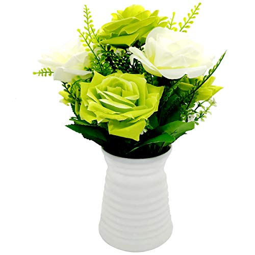 UIKKOT Artificial Flowers Silk Bouquet Fake Roses with Plastic Vase Arrangements for Indoor Outdoor Decorations Wedding Party Home Videos Table Gift or MV (Green and White)