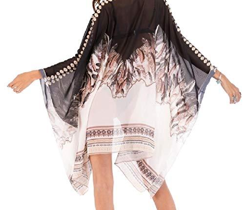 Print Flower Bohemian Beach Oversized Dress up Front Cover 1 Women's Open Mogogo Chiffon qwZBO6