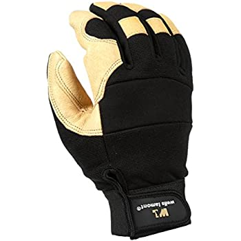 Men's Hi-Dexterity Leather Work Gloves, Ultra Comfort, Stretch Fit, Extra Large (Wells Lamont 3214XL)